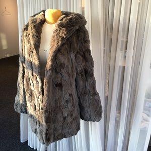 Jocelyn Hooded Rabbit Fur Coat Sz XL